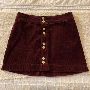 Abercrombie corduroy button up skirt